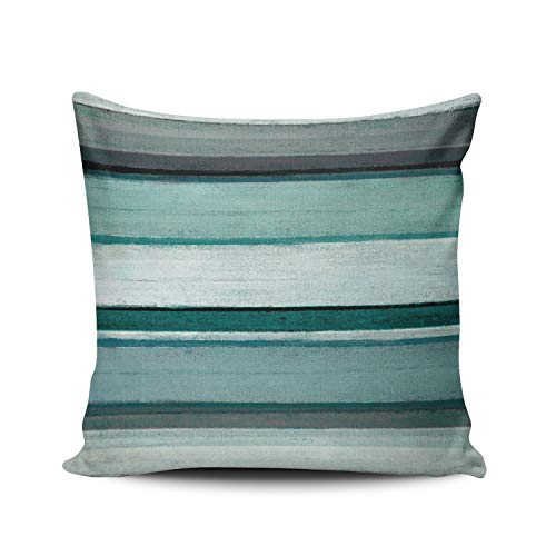 MUKPU Link Teal and Grey Abstract Art Home Decoration Pillowcase 26X26 Inch Square Stylish and Elegant Design Throw Pillow case Cushion Cover Double Sided Printed