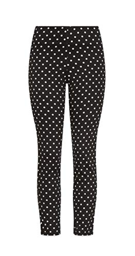 Stretch Polka Dot - Women's Casual Pant | Skinny Fit Pants in Stretchy Cotton Sateen Fabric | Black & White Polka Dot Fashionable Cropped Length (Medium)