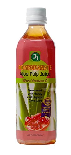 J1 Aloe Pulp Juice, Pomegranate, With Vitamin C, 16.9-Ounce Bottles (Pack of 12)