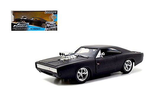 Jada Toys Fast & Furious F7- Doms 1970 Dodge Charger Street Matte Black Die-cast Collectible Toy Vehicle