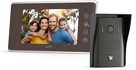 TILVIEW Video Door Phone Doorbell Kit Wired Video Intercom System Waterproof IP44 with Night Vision Camera and LCD Monitor, 16 Chimes and SD Card Storage 1 Camera 1 Monitor