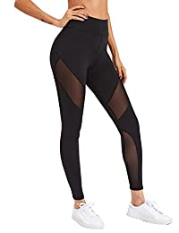 SweatyRocks Women's Stretchy Skinny Sheer Mesh Insert Workout Leggings Yoga Tights
