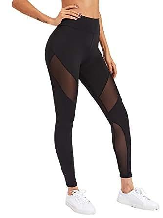SweatyRocks Women's Stretchy Skinny Sheer Mesh Insert Workout Leggings Yoga Tights Black XS