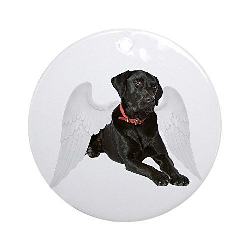 (Funny Ornaments Black Lab Angel Round Xmas Holiday Ornaments for Kids Christmas Tree Decorations)