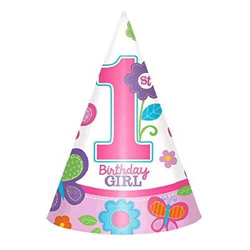 Amscan Flowers and Butterflies Girl's 1st Birthday Party Cone Hats, Paper, 12