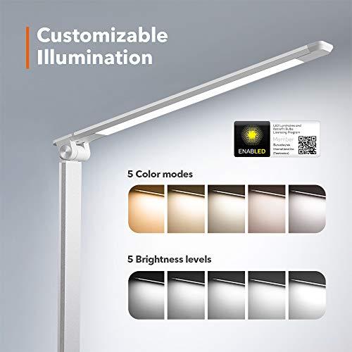 TaoTronics LED Schreibtischlampe Metall Tageslichtlampe 3000K 3500K 4000K 5000K und 6000K 5 Helligkeitsstufen und 5 Farbtemperaturen Merkfunktion Ultrad/ünne Alu Blendfrei USB-Ladeanschluss 5V 1A