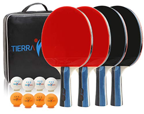 Ping Pong Paddle Set of 4 by Tierra Sports - Player Professional Quality Wood Paddles - 8 Premium Balls & Storage Case - Portable Pro Table-Tennis Racket Kit for Indoor Outdoor Tournament Competition
