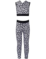 dPois Children Girls Active Dance Sports Outfits HoodieSweatshirts and Athletic Leggings Gym Workout Yoga Tracksuits