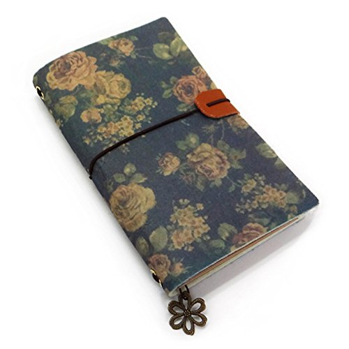 Naovio Felt Cover Travel Diary Journal Notebook with Kraft Refillable Book, Lined Refill Book and Metal Pendants