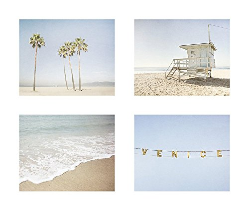 California Venice Beach Wall Art, Blue Los Angeles Coastal Decor, Set of 4 8x10 Matted Prints 'Californication' by Offley Green