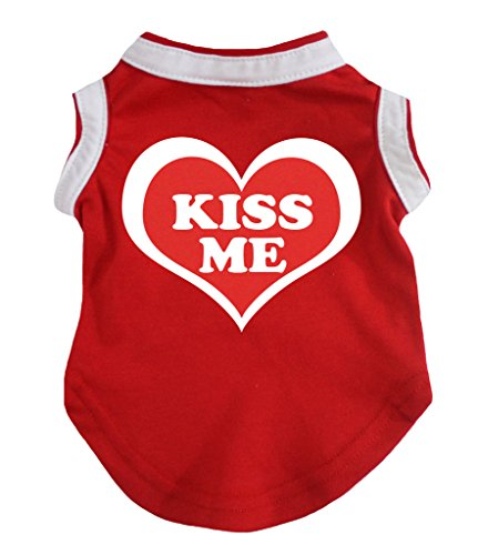 Petitebella Kiss Me Red Cotton Shirt Puppy Dog Clothes (X-Large)