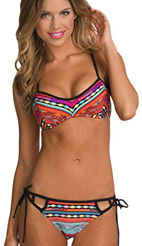 IF FEEL Womens Sexy Printed Flirty Hollow Out String Strappy Colorful Two Piece Bikini Bathing - Two Piece Swimsuits Triathlon