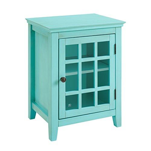 Single Door Cabinet in Antique Turquoise Finish (Antique Turquoise Furniture)