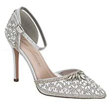 Lauren Lorraine Rose Crystal Black Women's Evening Dress High Heel Ankle Strap D'Orsay Pointed Toe Wedding Pump