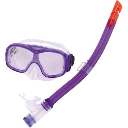 Aviator Swim Mask - Bestway #10110 Explorer Series Swimming Mask and Snorkel Set, Purple, Aviator-Style Polycarbonate Lens, For Kids Ages 3 Years and Up