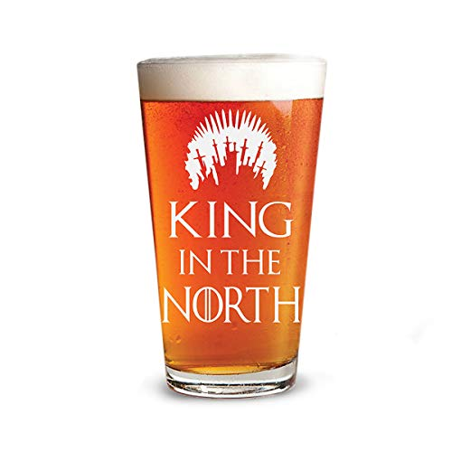 King in the North - Engraved Beer Glass - 16oz Clear Pint Glass - 1 Pack - Game of Thrones Inspired - Funny Gifts For Men and Women by Sandblast Creations (The King In The North Game Of Thrones)