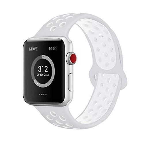 AdMaster Compatible for Apple Watch Bands 42mm,Soft Silicone Replacement Wristband for iWatch Apple Watch Series 1/2/3 - M/L Pure Platinum/White