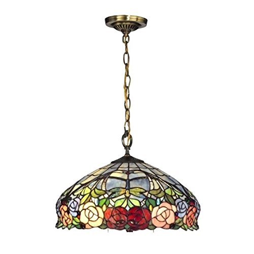 Dale Tiffany TH12233 Zenia Rose Hanging Fixture, Antique Brass