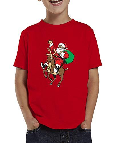 (SpiritForged Apparel Santa Riding Reindeer Toddler T-Shirt, Red 5T/6T)