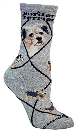 Border Terrier Animal Socks On Gray 9-11