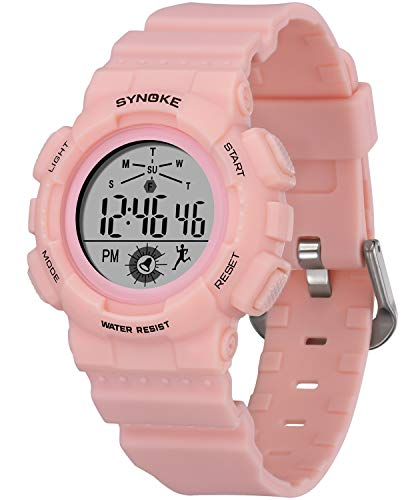 WUTAN Watches for Girls Digital Pink Resin Wrist Band Sport LED Alarm Stopwatch Casual Waterproof Wristwatches for Kids Teens Ages 3-15