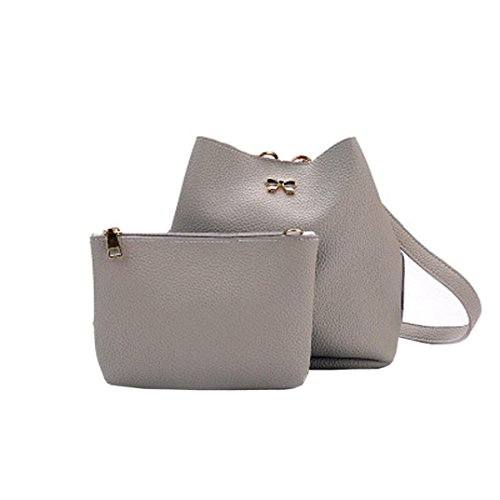 2PC Women Shoulder Bag Tote Purse Satchel Girls Leather Messenger Handbags by VESNIBA
