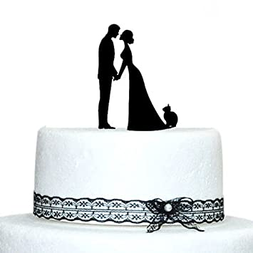 dbf1cac6091 Custom Wedding Cake Toppers novia beso novio con gato de silueta de ...