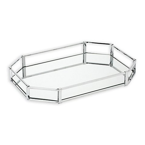 Home Details Large Octagonal Chrome Vanity Mirror Tray in Chrome - Octagonal Mirror Tray