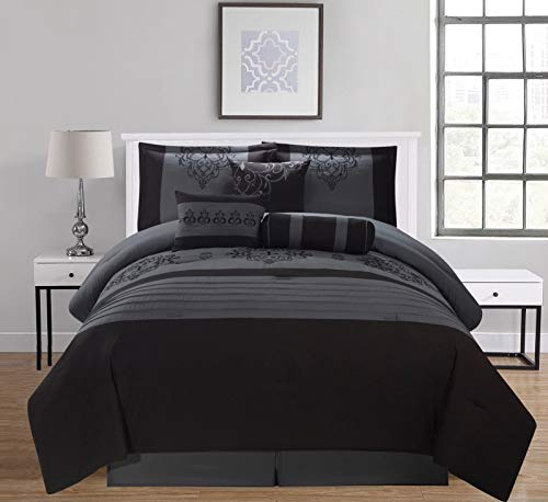 (Empire Home 7 Piece Gray & Black Flocking Oversized Comforter Set (California King) )