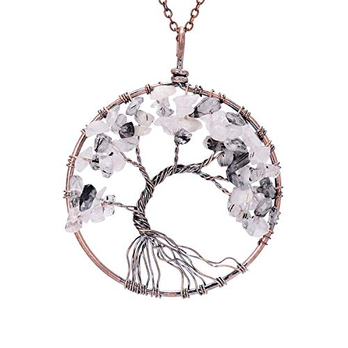 sedmart Family Root Healing Wire Wrapped Root Tree of Life Natural Raw Tumbled Birth Stone Quartz Crystal Pendant Necklace Semi Precious Gemstone Stone Chakra Jewelry Necklace Jwelleries for - Precious Semi Gemstone Necklace