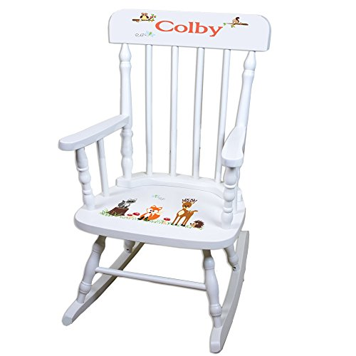 Personalized Coral Forest Animals White Childrens Rocking Chair by MyBambino
