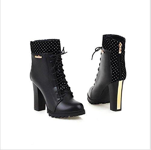 Botas de mujer tacones con plataformas impermeables con pesado - terminó Martin botas mujer Cross - bandas cargadores cortos black