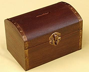 Great fun u0026quot;Realu0026quot; wooden treasure chest money box -Includes padlock & Great fun