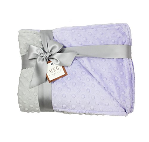 MEG Original Lavender & Gray Minky Dot Baby Girl/Toddler Crib Blanket 652