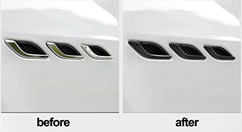 6PCS// Pack YOCTM Black Carbon Fiber Texture Side Air Vent Fender Cover Trim Sticker Fit for Maserati Ghibli 2014-2018