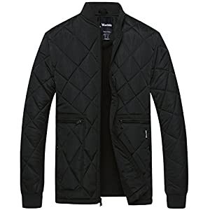 Wantdo Men's Quilted Bomber Jacket Warm Padded Outdoor Diamond Puffer Coat Black Medium