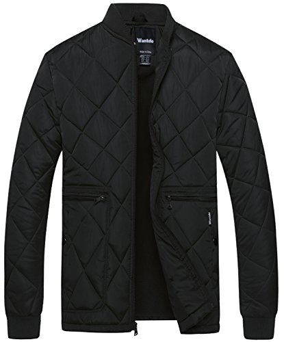 - Wantdo Men's Quilted Bomber Jacket Warm Padded Outdoor Diamond Puffer Coat Black Large