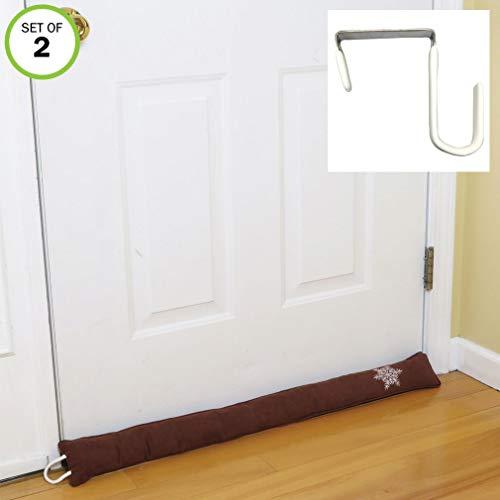 Evelots Door Draft Stopper-33 -Free Over The Door Hook-Heat in-3 Colors-Set/2