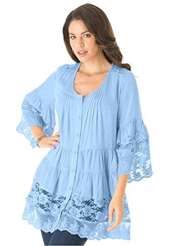 Roamans Women's Plus Size Illusion Lace Bigshirt (Sky Blue,14 W)