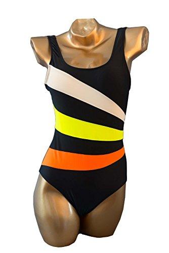 HZZ Traje de baño de una pieza rayas de color del traje de baño Traje de baño de las mujeres Scoop Black