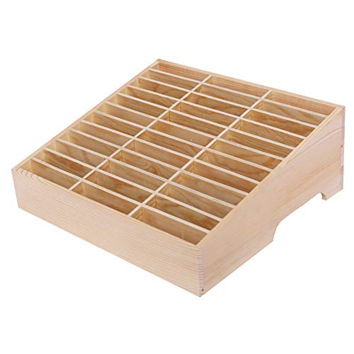 Ozzptuu 36-Grid Wooden Cell Phone Holder Desktop Organizer Storage Box for Classroom Office