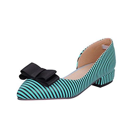 MissSaSa Damen Schleife Pointed Toe niedrig Absatz Pumps mit Zebrastreifen bequem und modern Blockabsatz Spitze Slipper Blau