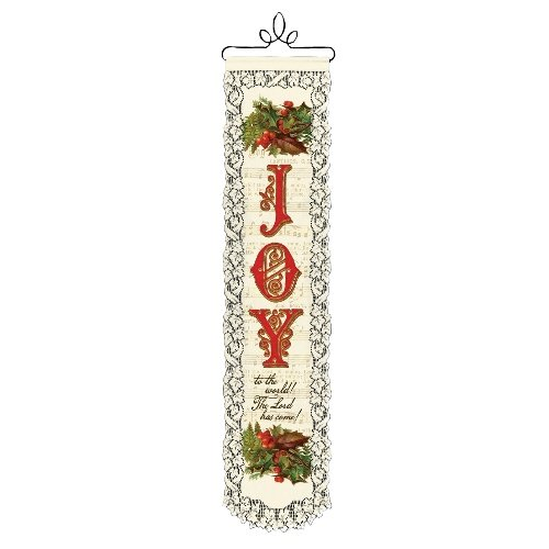 Heritage Lace Joy to the World 8-Inch by 32-Inch Ecru Wall Hanging