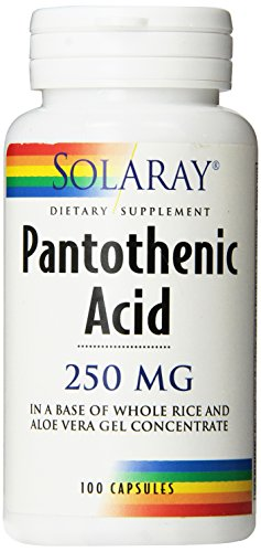 Solaray Pantothenic Acid Capsules, 250 mg, 100 Count