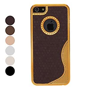 Deluxe Gold Chrome S Line Back Hard Case with Interior Protection Film for iPhone 5/5S (Optional Colors) --- COLOR:Beige