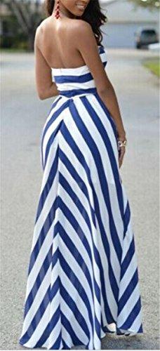 Strisce Maniche Blu Stampa Donne Senza Delle Con Beachwear Vestito Altalena Jaycargogo Maxi 7dEqFw7