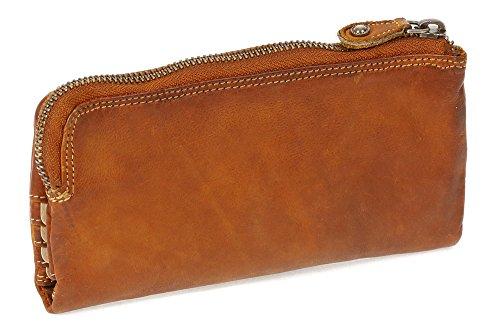 Compatto Portafoglio Donna Borsa con rivetto WASHED-Optic LEAS, Vera Pelle, cognac/beige - ''LEAS Vintage-Collection''
