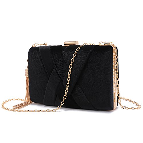Bridal Party Wedding For Stain Clutch Fabric Night Black Out Purse Women's Bag Evening Prom q6xA7A