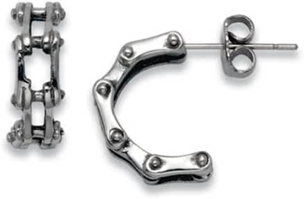 Stainless Steel Bike Chain Stud Earrings