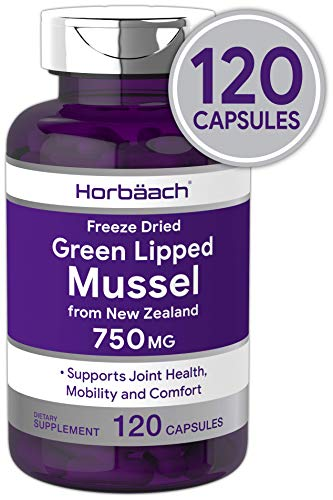 Horbaach Green Lipped Mussel 750 mg 120 Capsules | from New Zealand | Premium Freeze Dried Mussel Powder | Non-GMO and Gluten Free (Best Green Lipped Mussel Supplement)